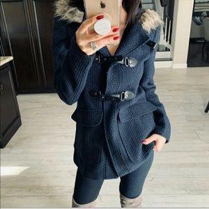 Navy pea coat with fur hood